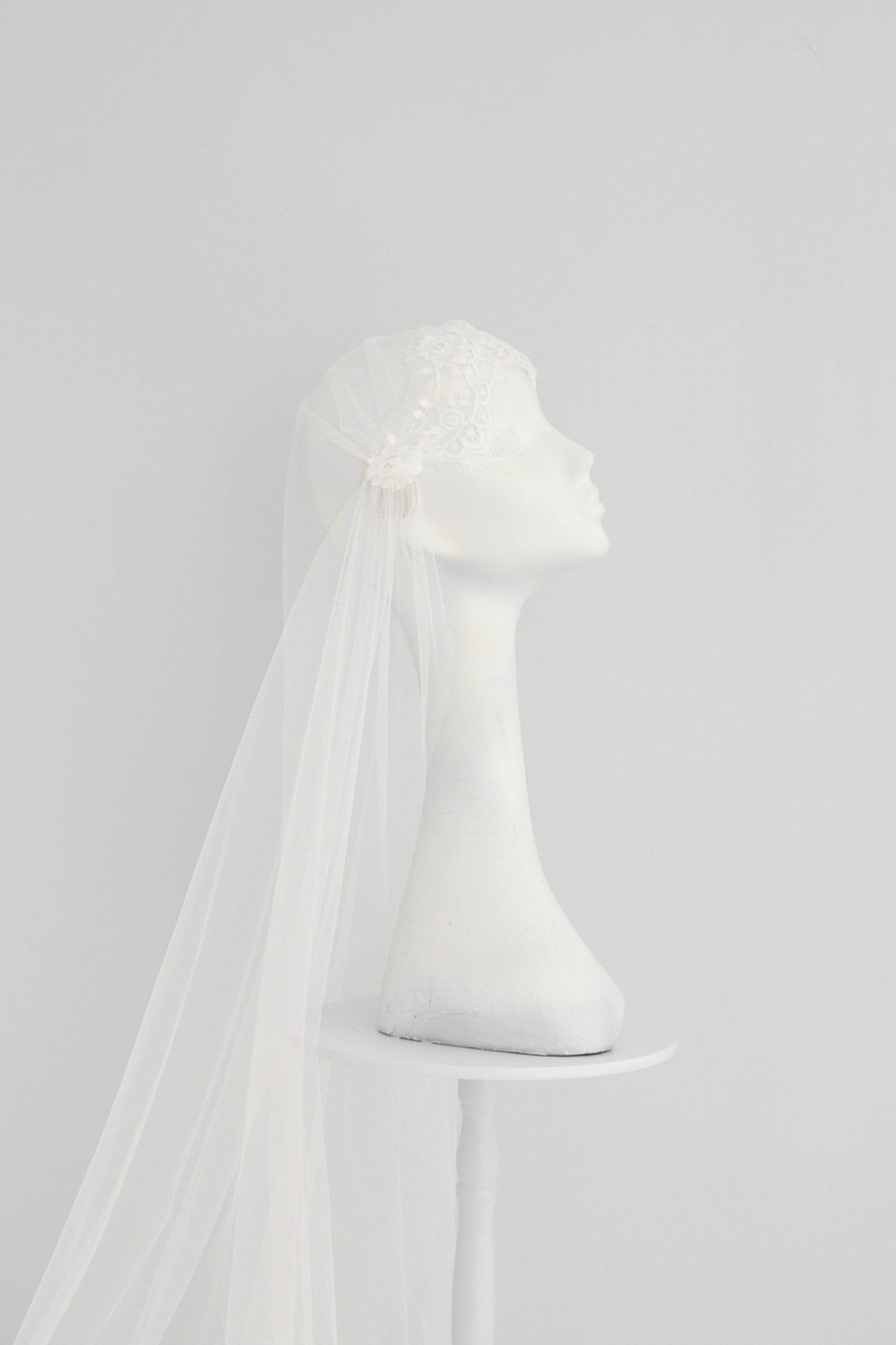 Silk style lace Juliet cap wedding veil - 'Amelie'