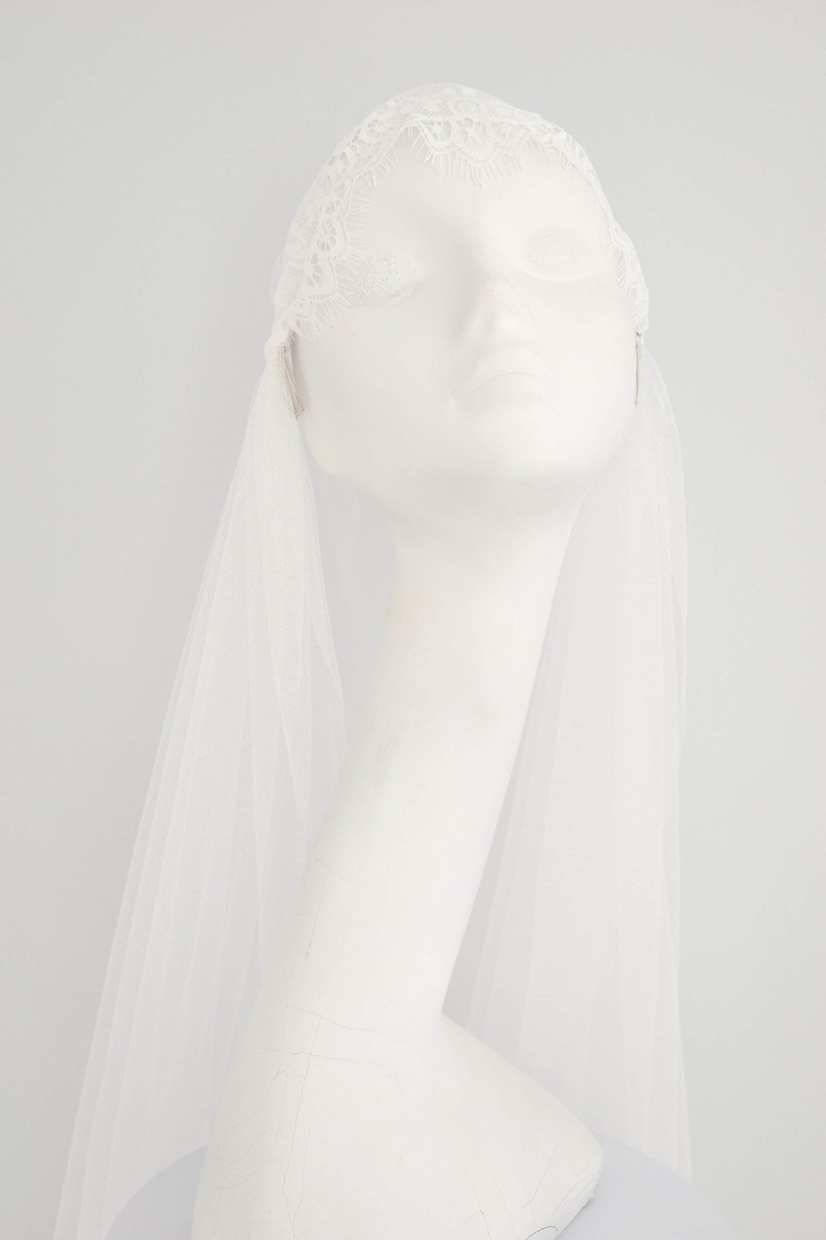 Wedding Veil Silk style lace Juliet cap wedding veil - 'Amelie'