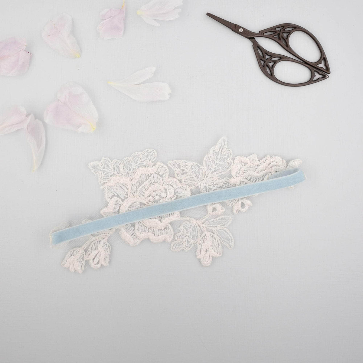 Wedding Garter 'Something blue' and ivory lace motif garter - 'Amara'
