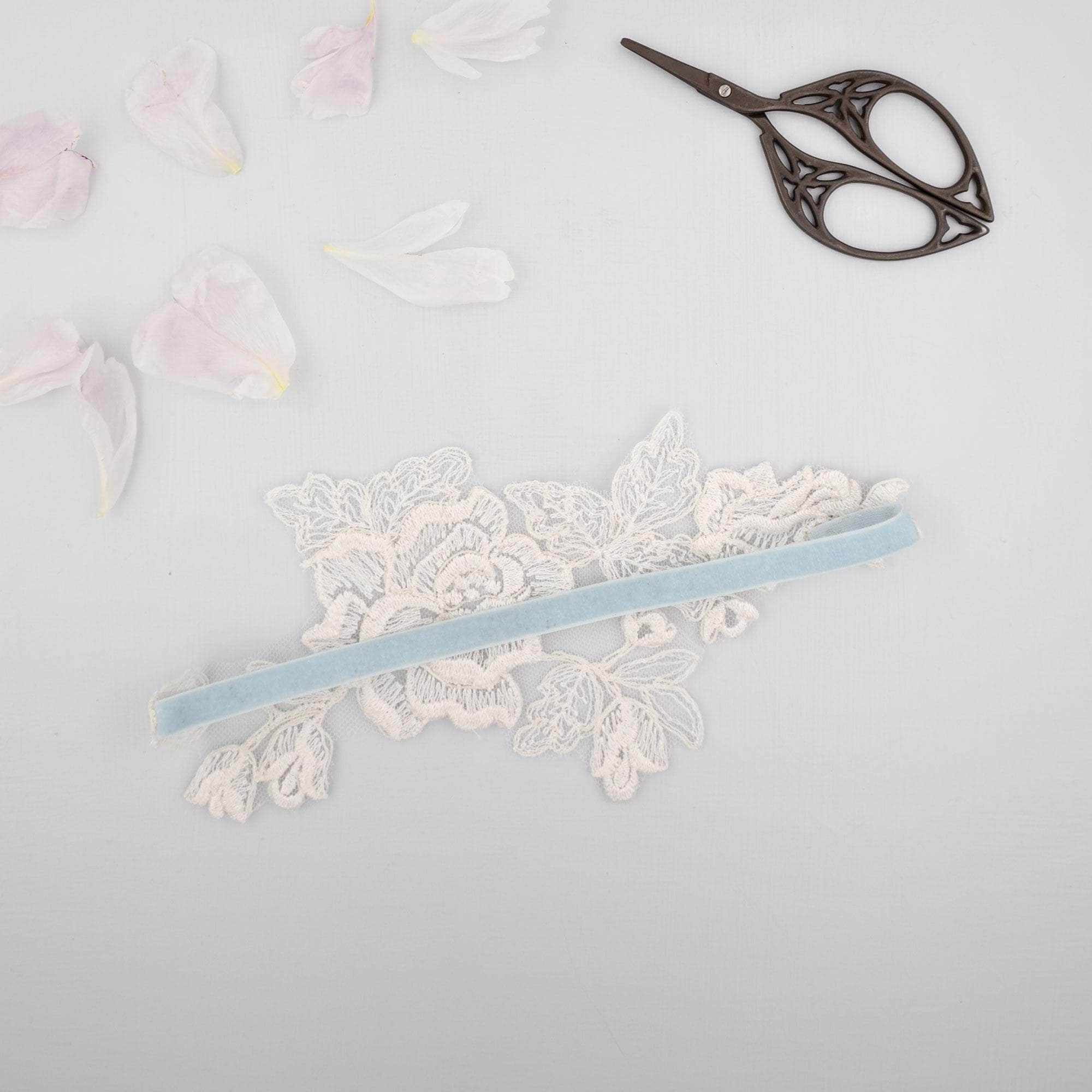 'Something blue' and ivory lace motif garter - 'Amara' - Britten Weddings