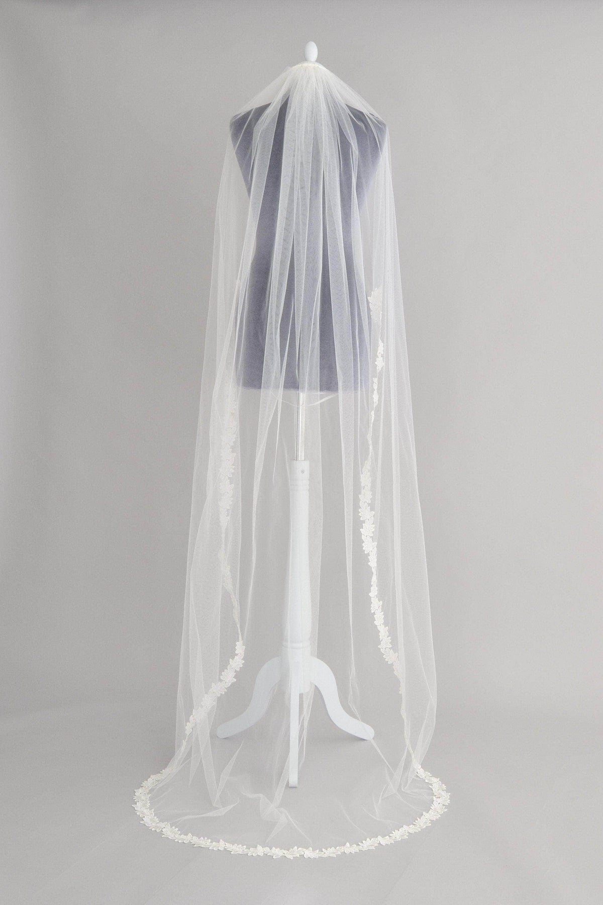 Wedding Veil Semi lace edged leaf wedding veil - 'Ferne'