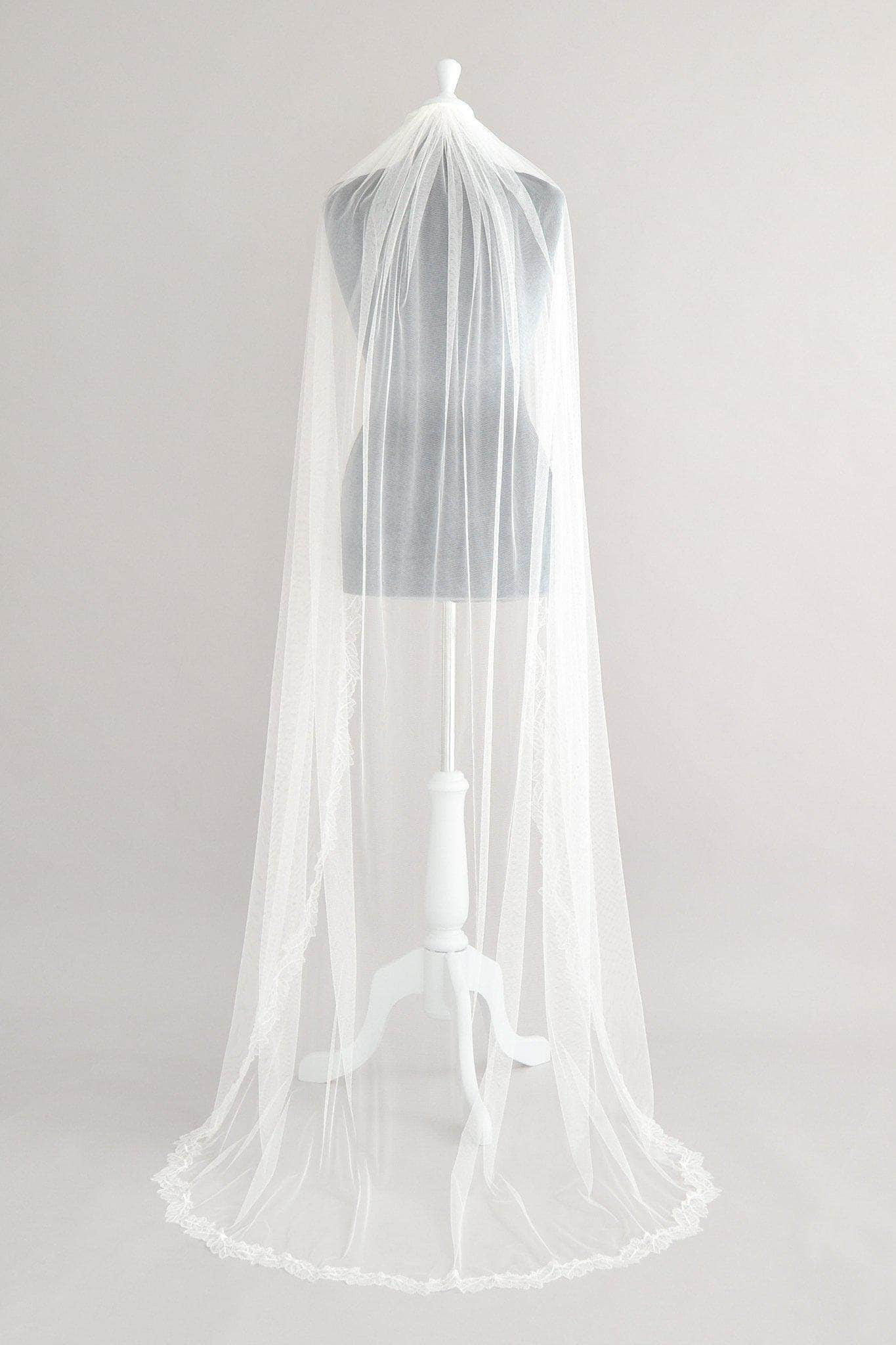 Wedding Veil Silk style semi lace edged leaf wedding veil - 'Cali'