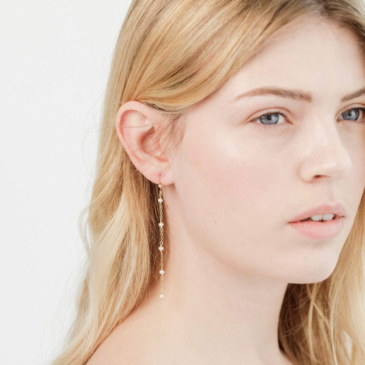 Wedding Earring Pearl Chain Drop Earrings - 'Calle'