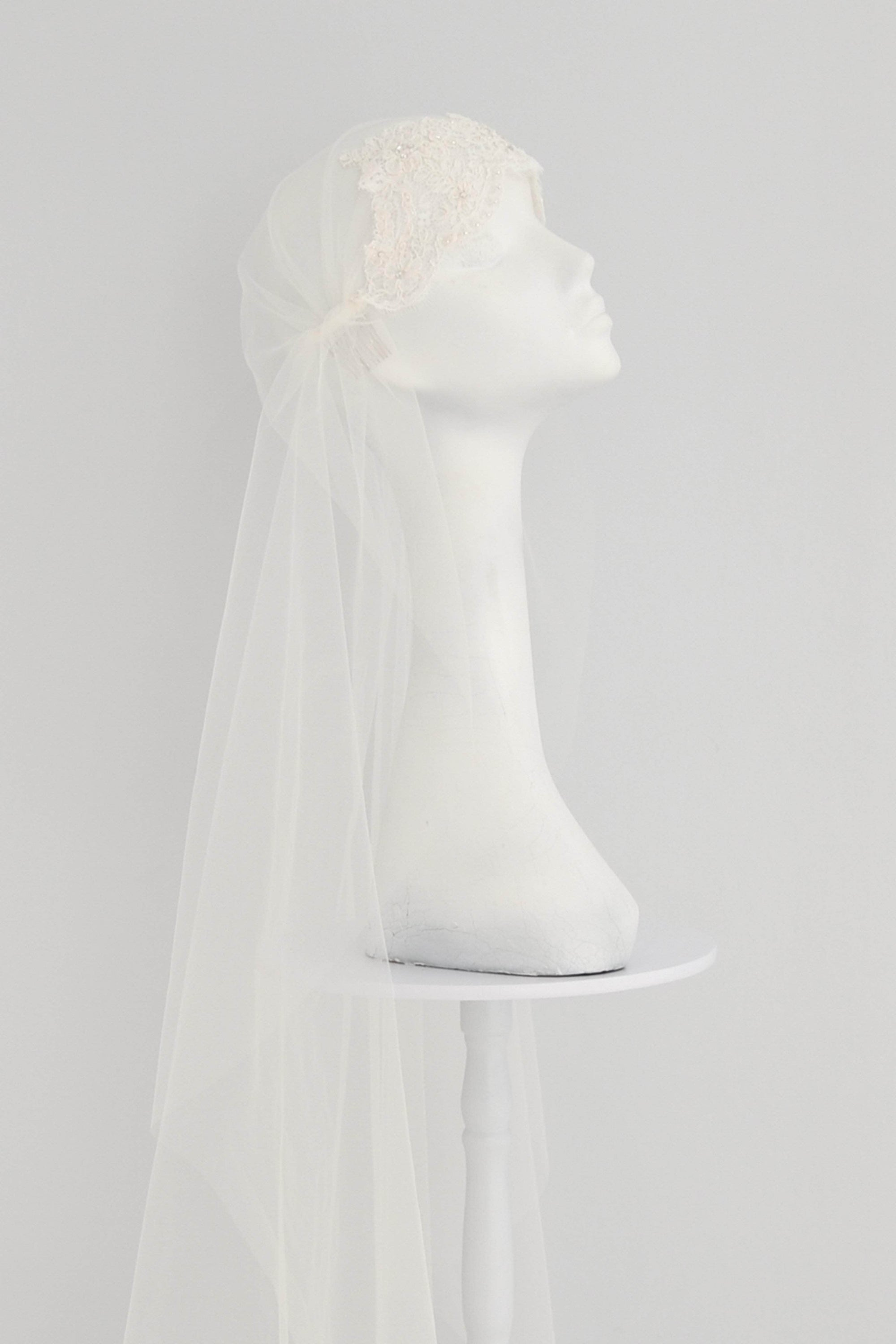 Beaded lace Juliet cap wedding veil - 'Rene' - Britten Weddings