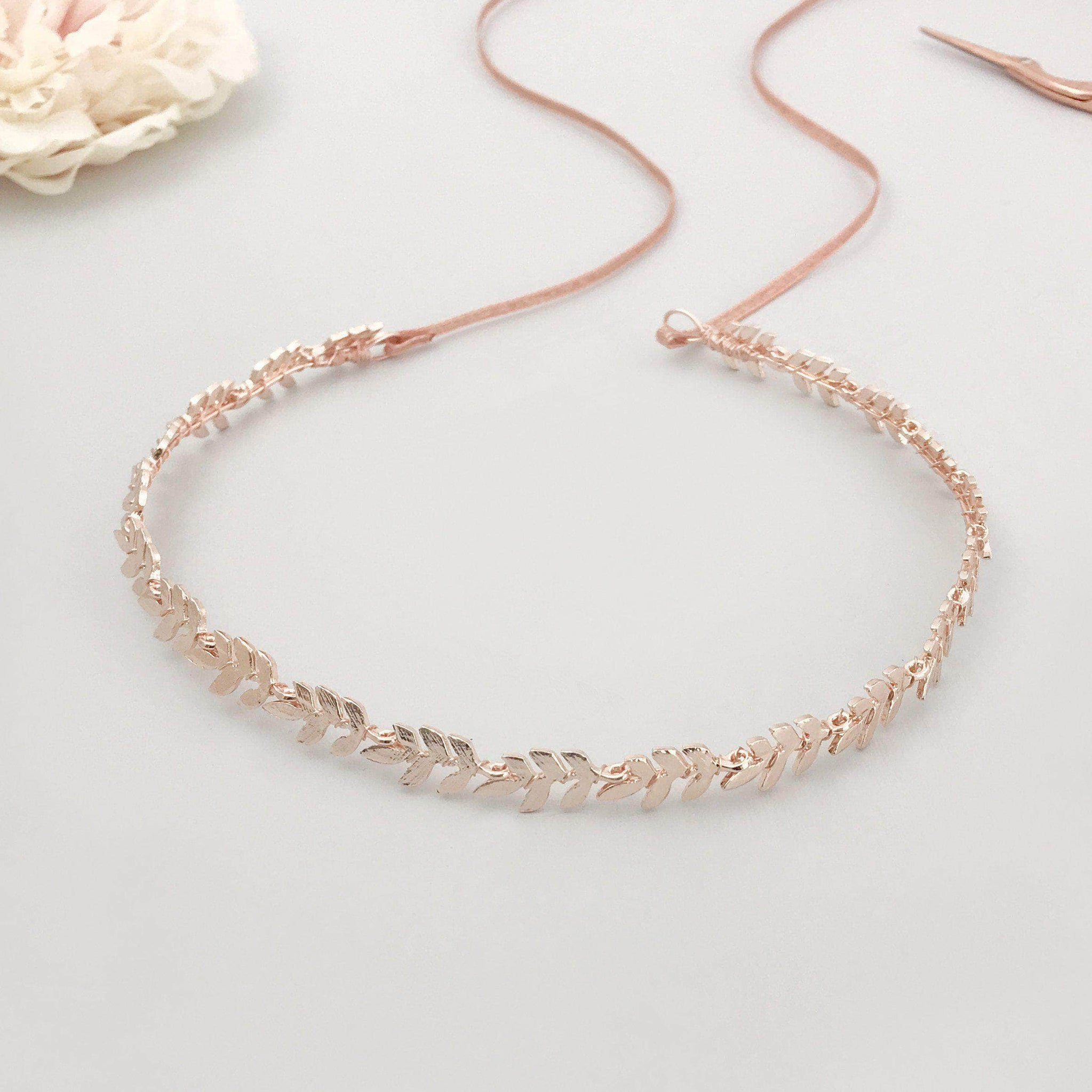 rose gold leaf hair vine