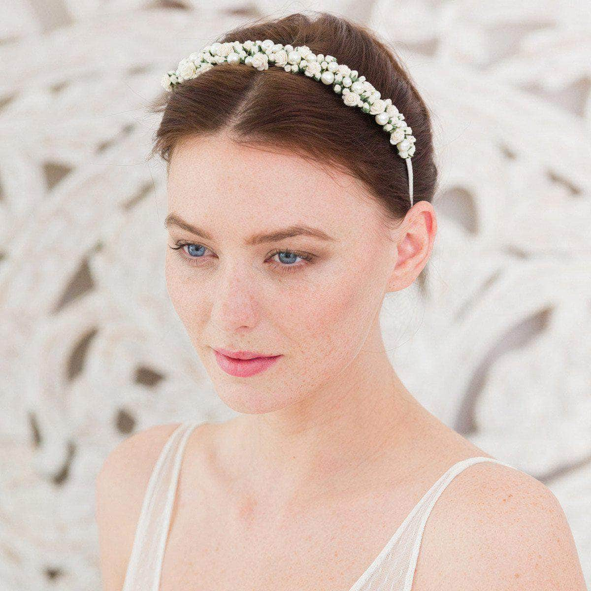 Wedding Haircomb Ivory Rose wedding headband with pearls - 'Rosie'