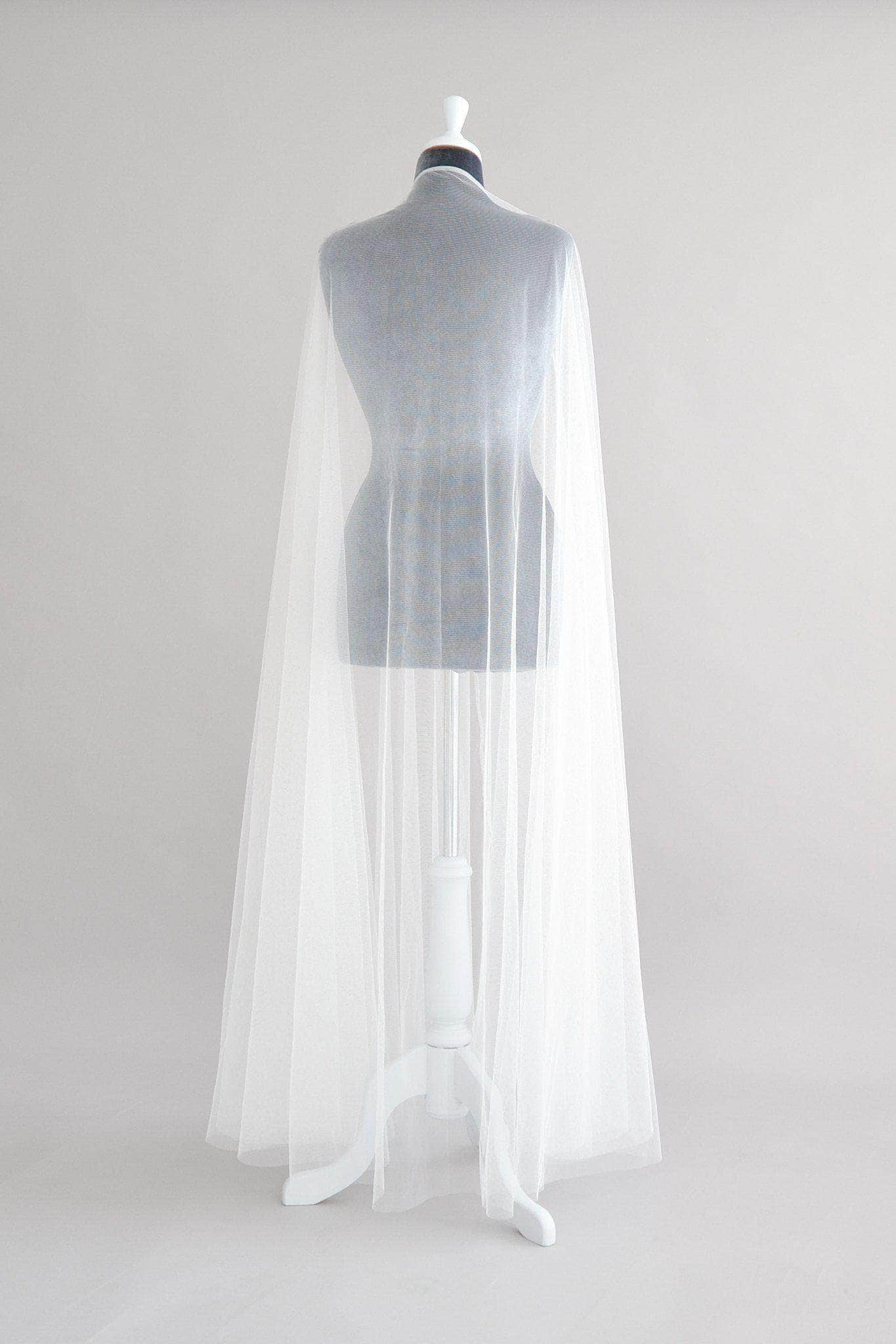 Wedding Veil Silk style tulle wedding cape veil- Zana