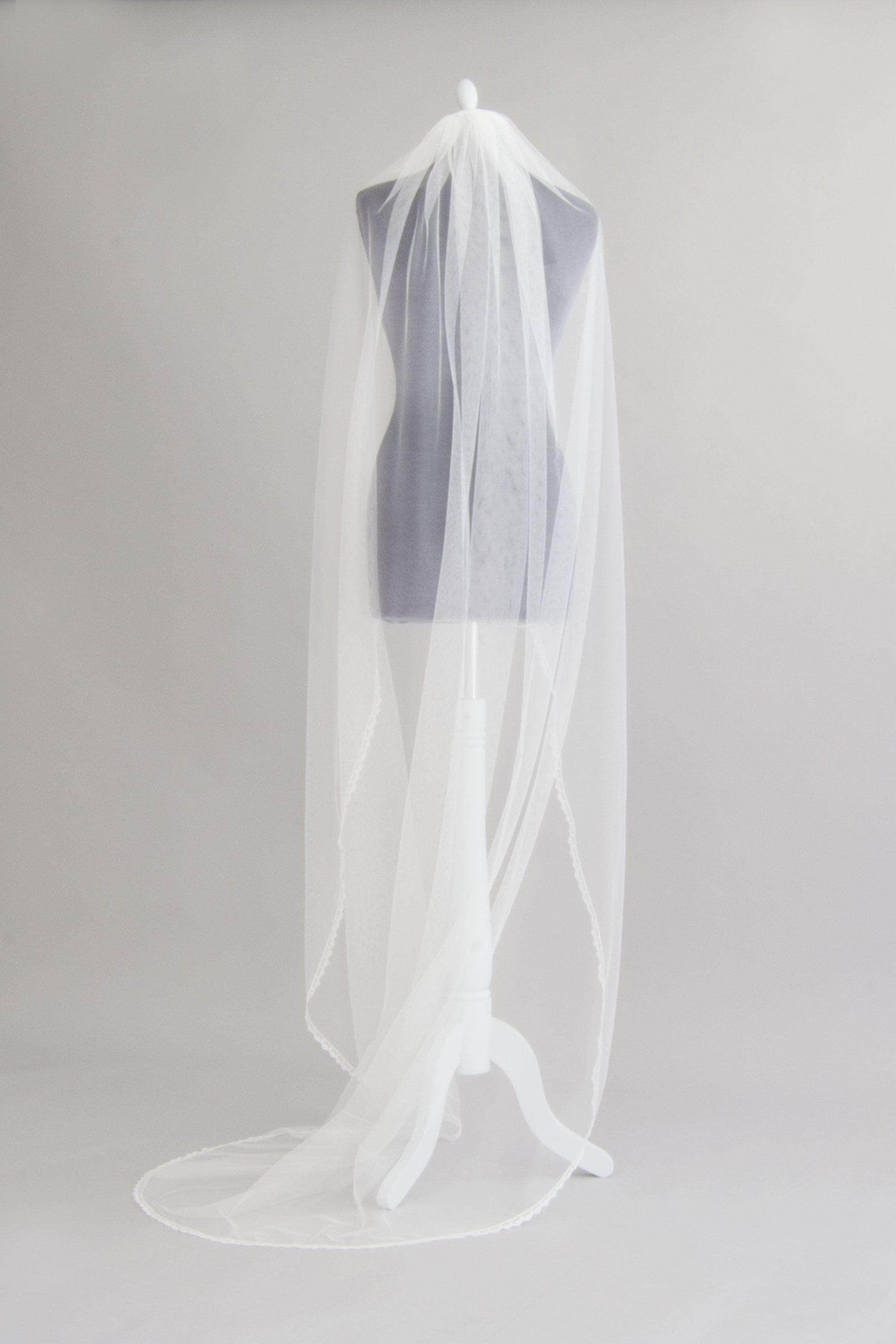 silk style wedding veil with delicate lace edge