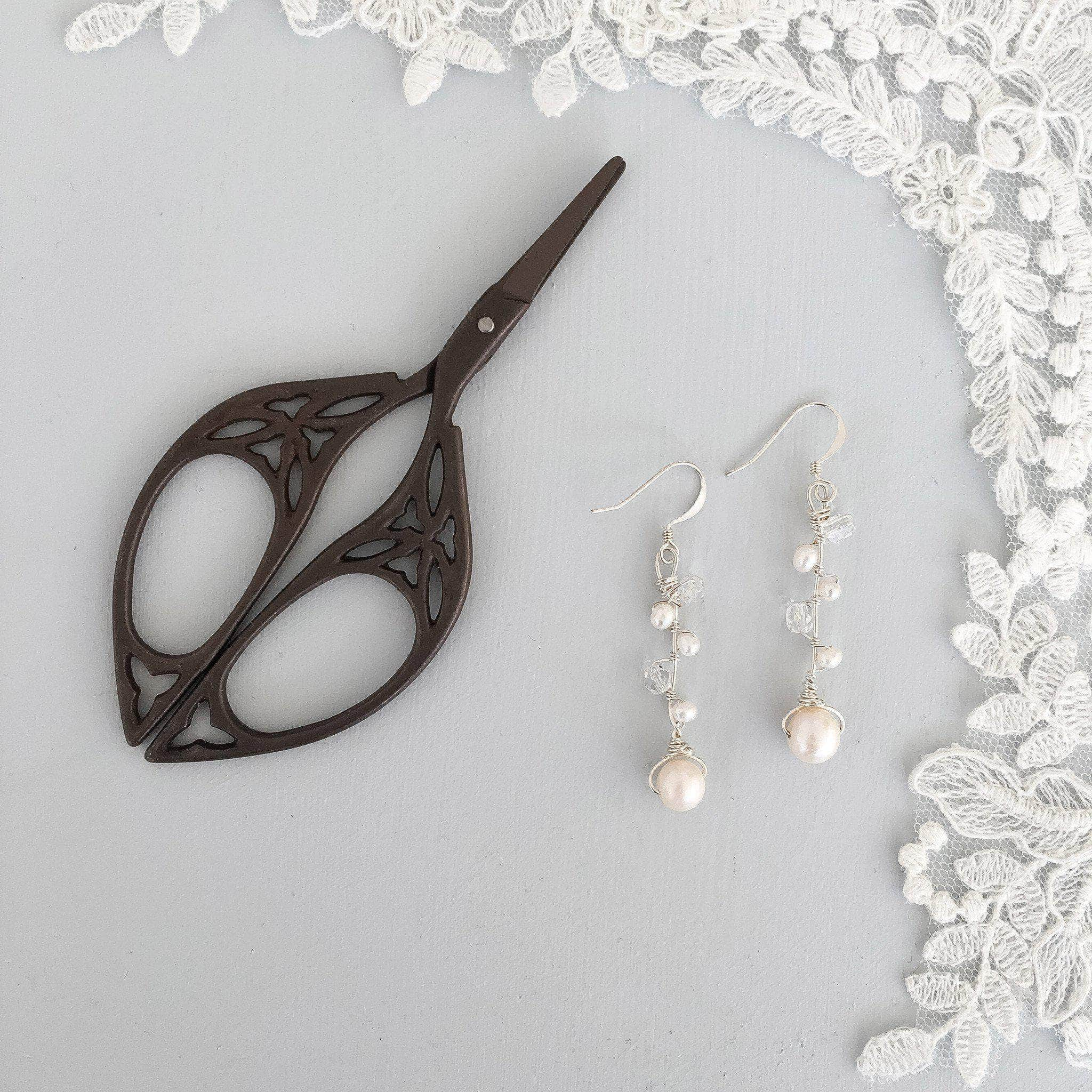 silver and pearl wedding earrings