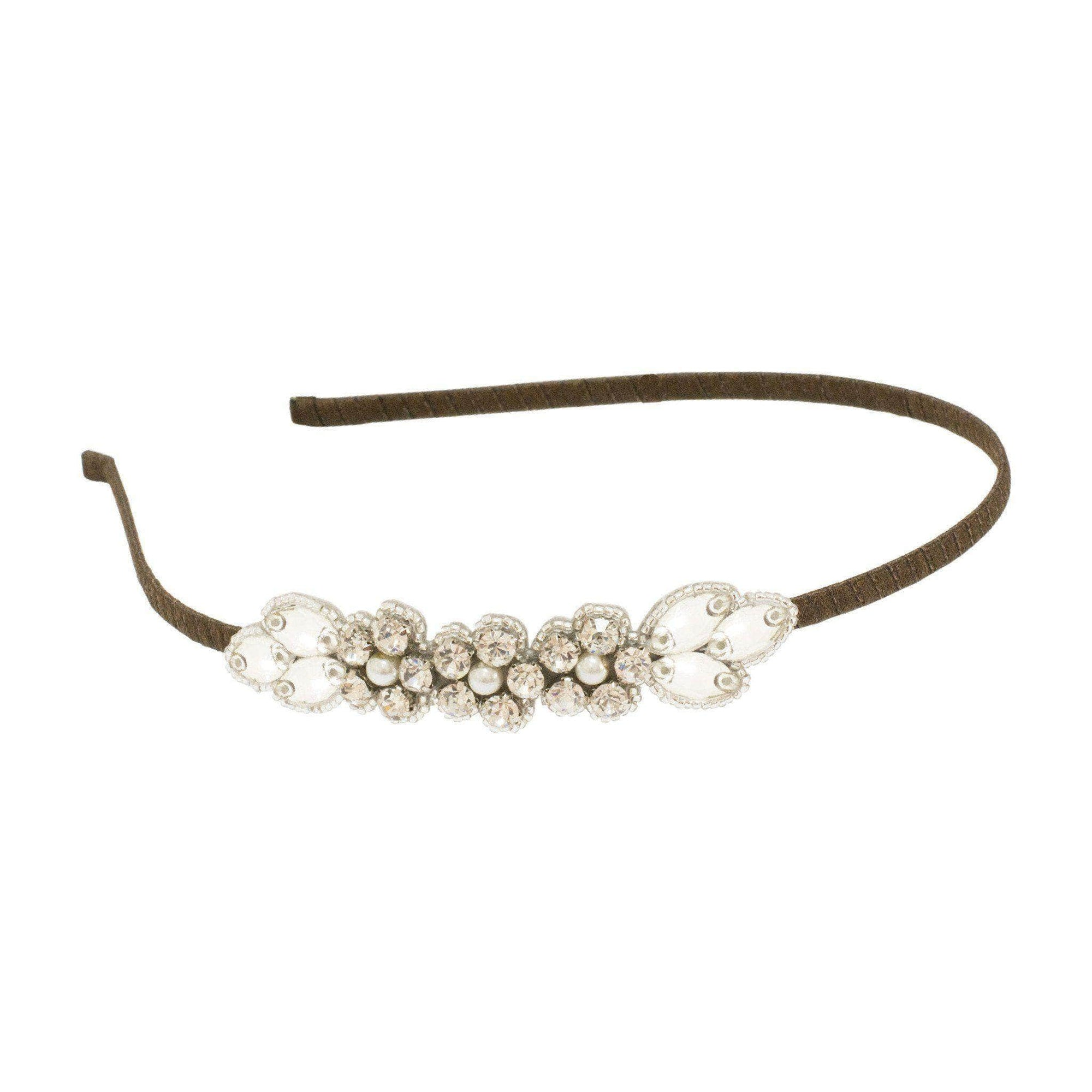 Wedding Headband Silver crystal wedding headband- leaf and floral arrangement 'Livia'