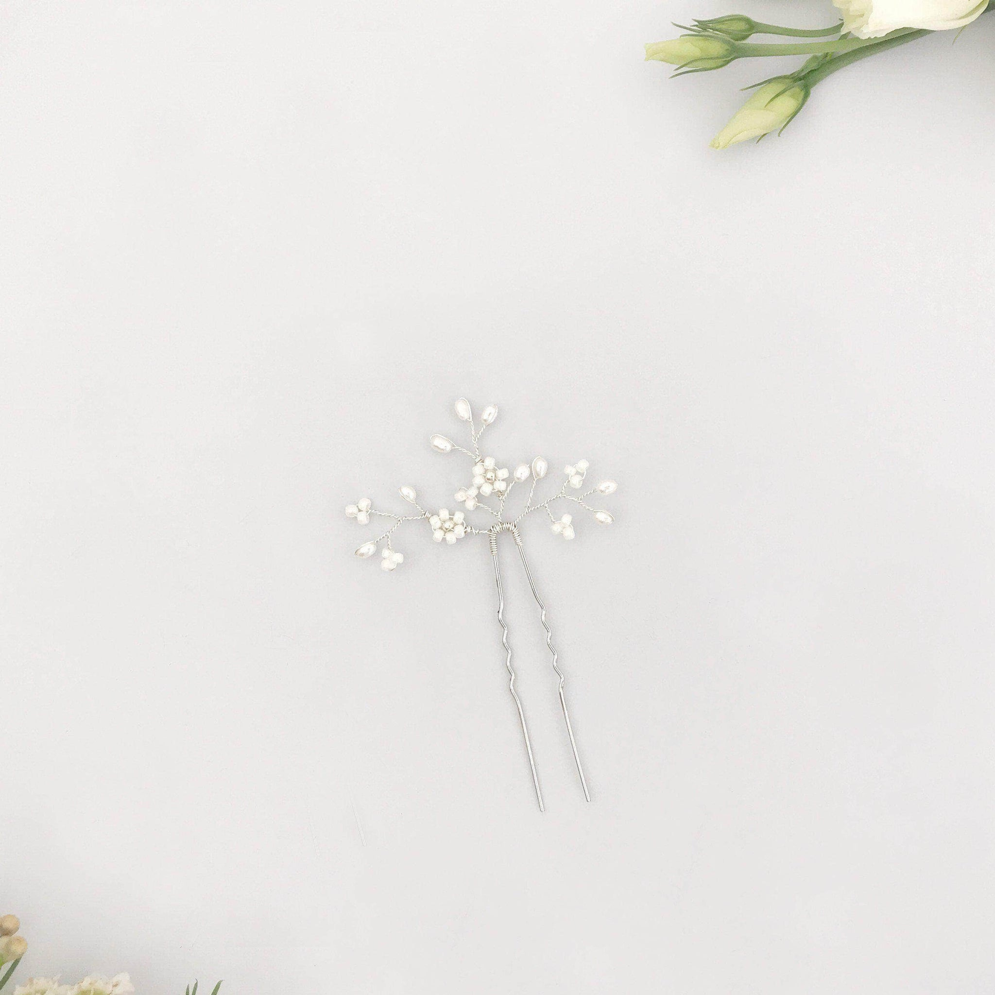 silver floral wedding hair pin