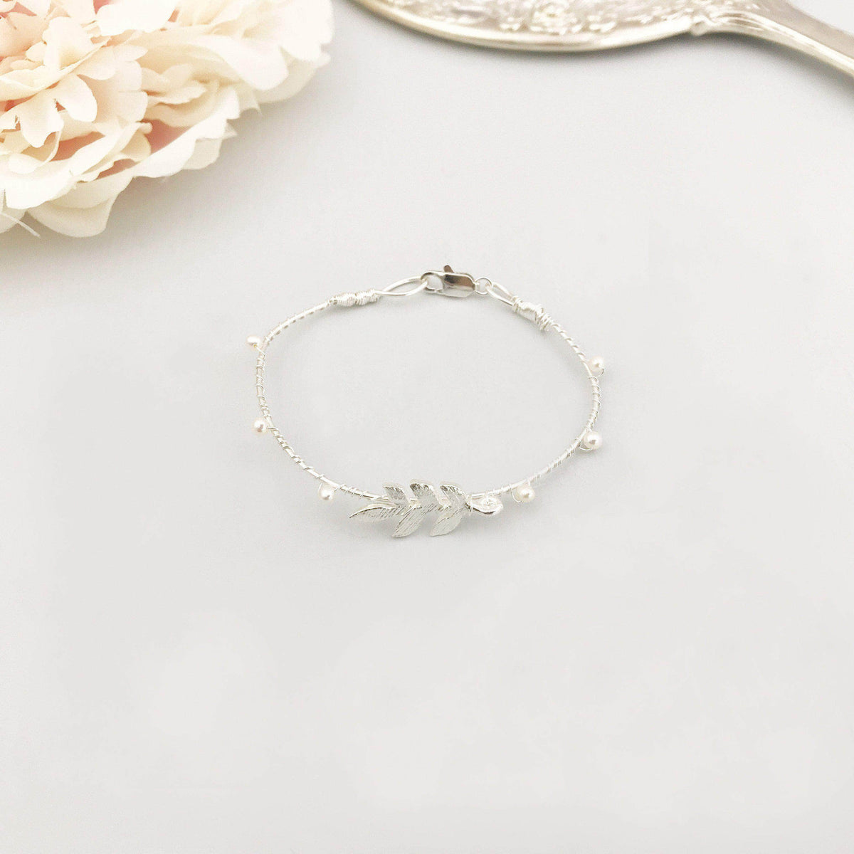 silver leaf wedding cuff bracelet