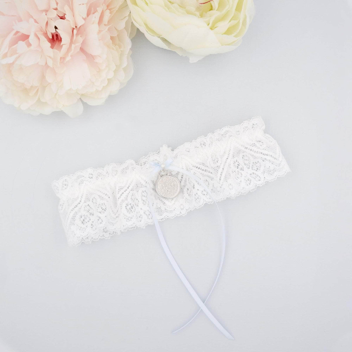 Wedding Garter Sixpence pendant lace wedding garter - 'Sixpence'