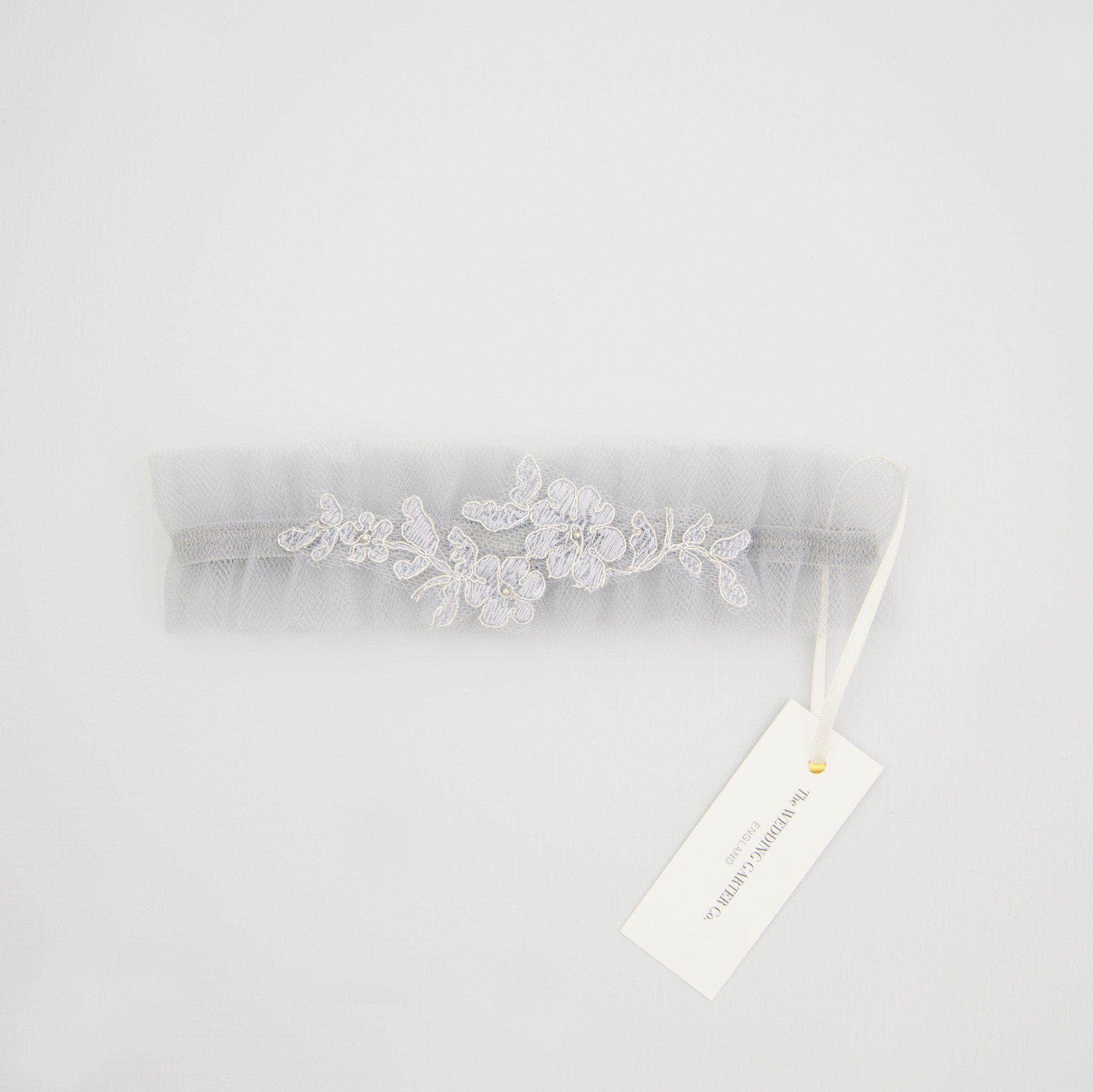 Wedding Garter Soft blue tulle wedding garter with delicate lace - 'Elva'