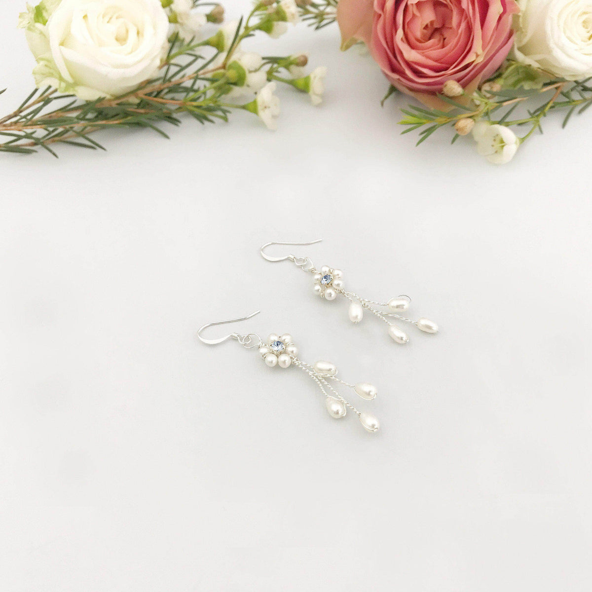 Wedding Earring Something blue Vine wedding earrings - 'Eliza'