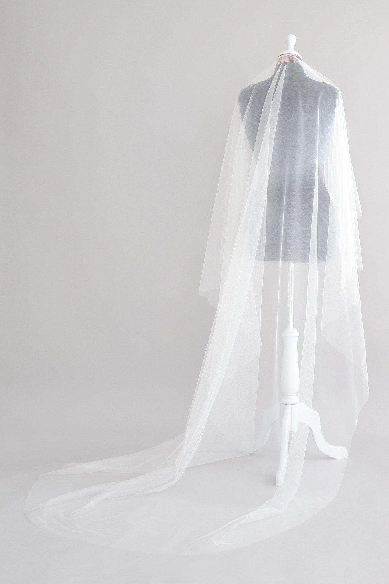 silk style waterfall cut angel cut wedding veil
