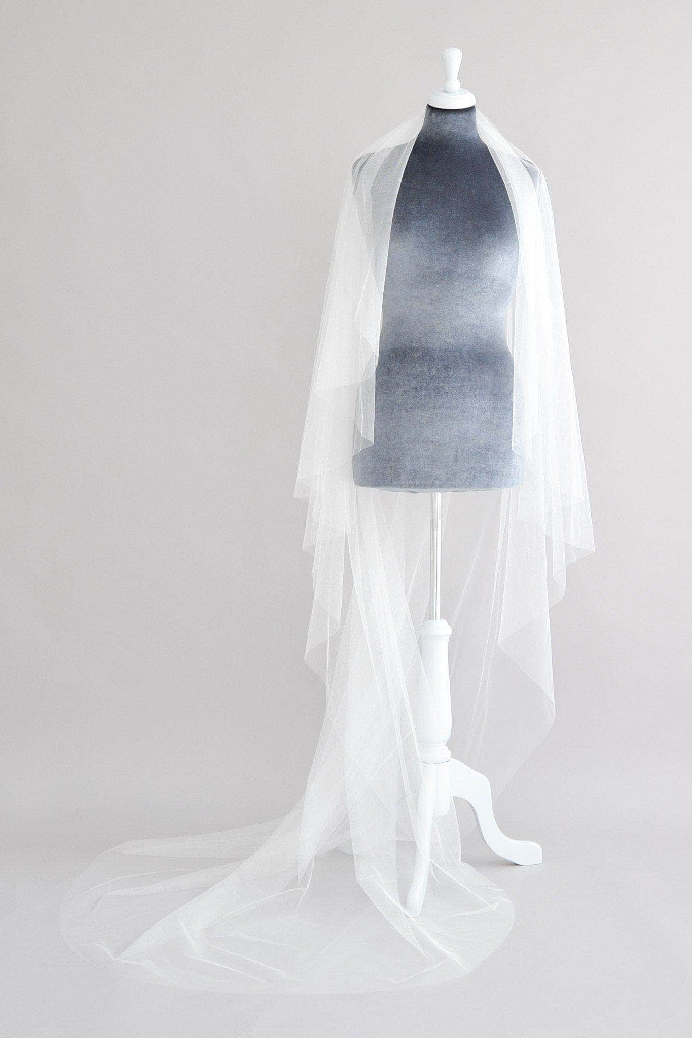 Wedding Veil Silk style waterfall cut barely there wedding veil - 'Peppa'