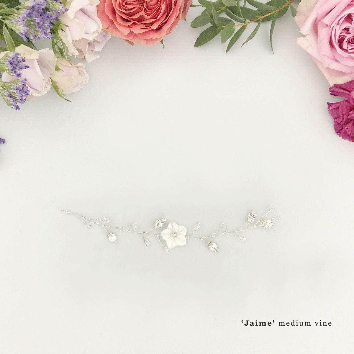 Wedding Hairvine Silver floral multipiece with small centrepiece - 'Jaime'