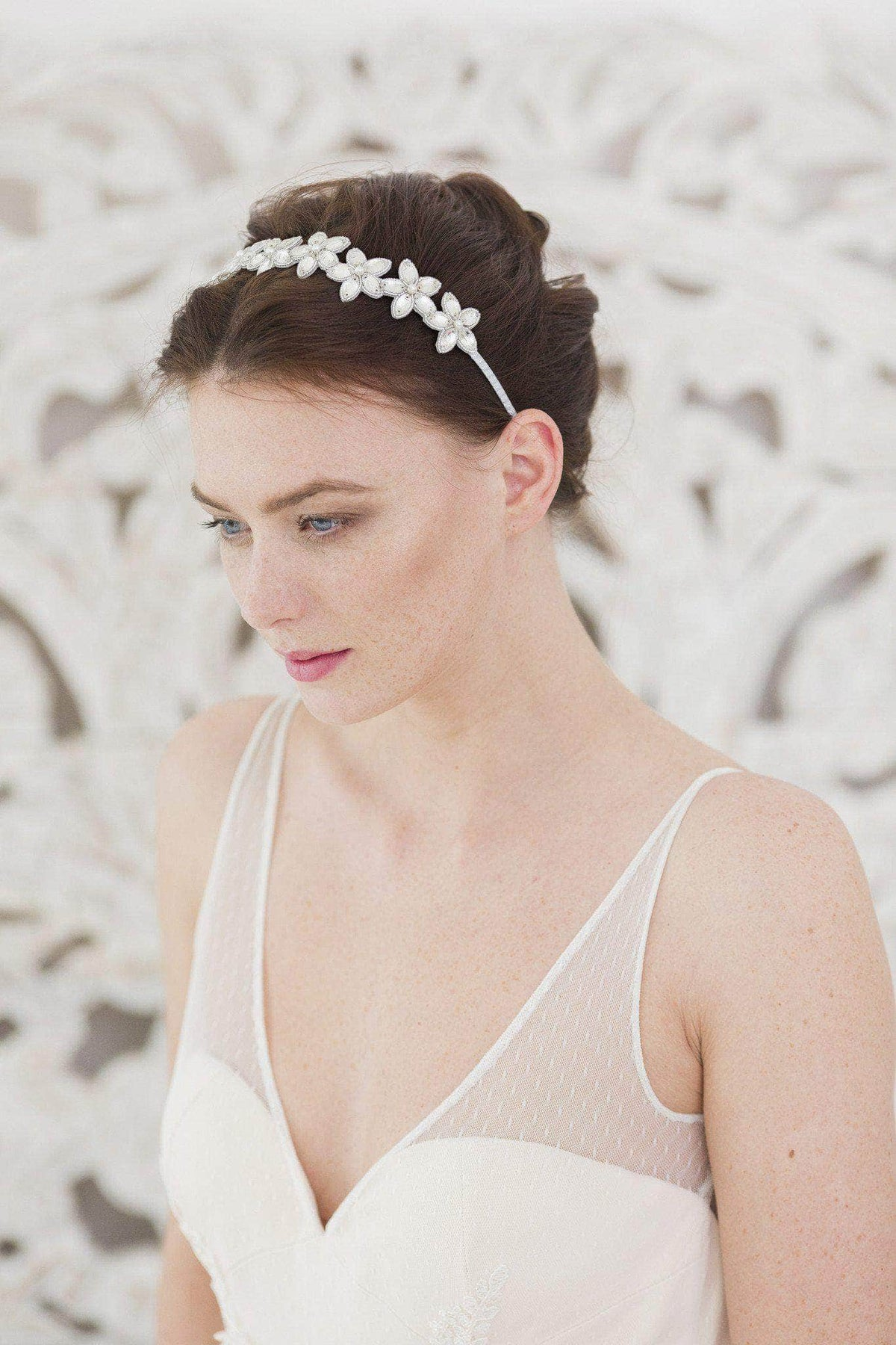 Wedding Headband Flower wedding headband in silver with crystals and pearls- 'Zoie'