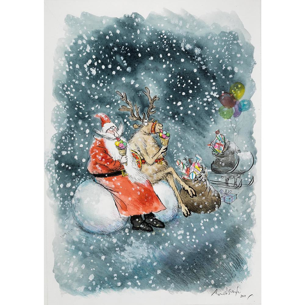 Featured image for the project: Santa and Rudolf with Ice Cream - Christmas card pack