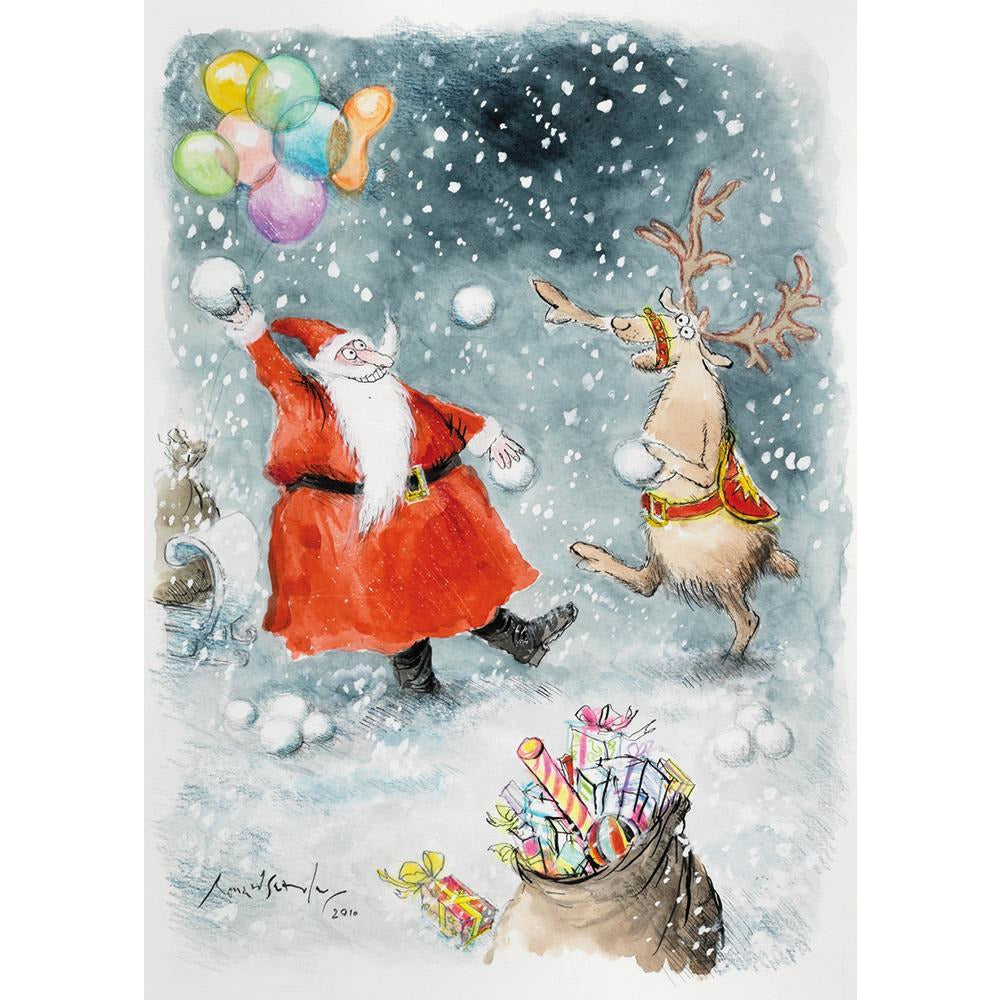 Featured image for the project: Santa and Rudolf Snowballing - Christmas card pack