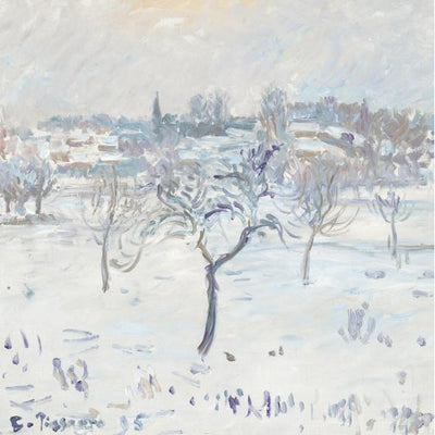 Christmas card pack - Snowy Landscape at Eragny by Camille Pissarro. From the collection of the Fitzwilliam Museum, brought to you by CuratingCambridge.co.uk