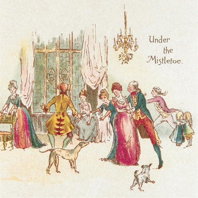 Christmas card pack - Under the Mistletoe by W.B. Shoosmith. From the special collections of Cambridge University Library. Brought to you by CuratingCambridge.co.uk