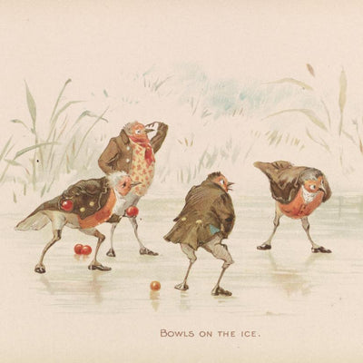 Christmas card pack - Bowls on the Ice from The Twigs, or Christmas at Ruddock Hall, by Robert Dudley. From the special collections of Cambridge University Library, brought to you by CuratingCambridge.co.uk
