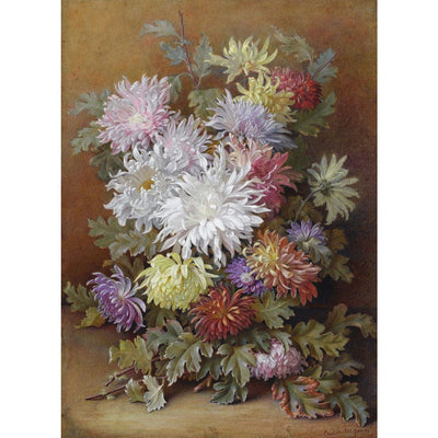Greeting card - Bouquet of Flowers by Charlotte James. Chrysanthemums of white, pink, red, yellow, red and purple.