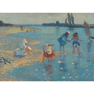 Greeting card- Children Paddling, Walberswick by Philip Wilson Steer. Four figures with blue sea and sandy beach in an Impressionist style. From the collection of The Fitzwilliam Museum, brought to you by Curating Cambridge.com