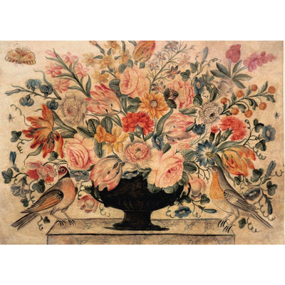 Greeting card - An urn with flowers including roses and carnations, in an urn on a ledge with two birds. Attributed to Octavianus Montfort. From the Broughton Collection of The Fitzwilliam Museum, brought to you by CuratingCambridge.com