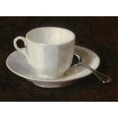 Greeting card - White Cup and Saucer by Henri Fantin-Latour. From the collection of The Fitzwilliam Museum, brought to you by CuratingCambridge.com
