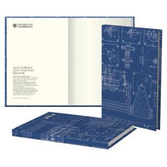 Hardback journal - Alan Turing's zeta function machine, blueprint design. Brought to you by CuratingCambridge.com