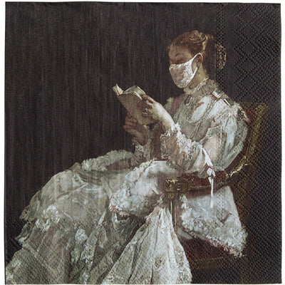 Napkin - La Liseuse (the reading woman) by Alfred Stevens. Reworked to add a white face mask. From the collection of The Fitzwilliam Museum, brought to you by CuratingCambridge.com