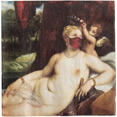 Napkin - reworked version of Venus and Cupid with a Lute-player by Titian. With added face masks. From the collection of The Fitzwilliam Museum, brought to you by CuratingCambridge.com