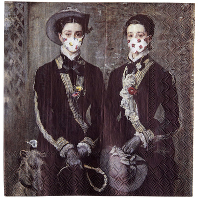 Napkin - The Twins, Kate and Grace Hoare, by John Everett Millais. Portrait of the twins in riding outfits with the addition of floral face masks. From the collection of The Fitzwilliam Museum, brought to you by CuratingCambridge.