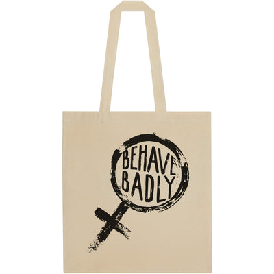 Tote bag - natural colour with black 'Behave Badly' print. From the Rising Tide exhibition at Cambridge University Library, brought to you by CuratingCambridge.com