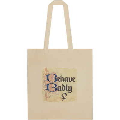 Tote bag - Behave Badly illuminated manuscript print. Inspired by the Rising Tide exhbition at Cambridge University Library, brought to you by CuratingCambridge.com