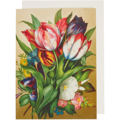 Greeting card - Spray of tulips, everylasting pea, mild rose and hibiscus by James Holland. From the botanical art collection of The Fitzwilliam Museum, brought to you by CuratingCambridge.com