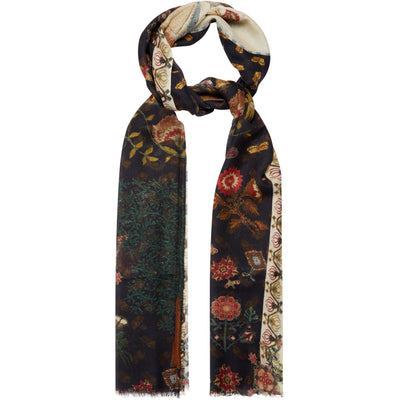 Modal silk scarf - black with motifs from the sampler collection of The Fitzwilliam Museum. Brought to you by CuratingCambridge.com