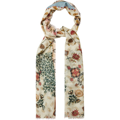 Modal silk scarf - ivory with motifs from the sampler collection of The Fitzwilliam Museum. Brought to you by CuratingCambridge.com
