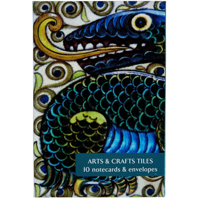 Notecard pack - Arts & Crafts Tiles by William de Morgan and Co. Cover image - dragon tile. From the collection of the Fitzwilliam Museum, brought to you by CuratingCambridge.co.uk