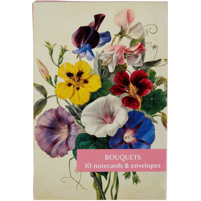 Notecard pack - Bouquets. Cover image: Sweet Peas, morning glory & nasturtiums by Marie Anne. From the Broughton Collection of The Fitzwilliam Museum, brought to you by CuratingCambridge.co.uk