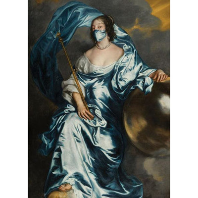 Greeting card - Countess Rachel as Fortune by Anthony van Dyck, with face mask. From the collection of The Fitzwilliam Museum, brought to you by CuratingCambridge.com