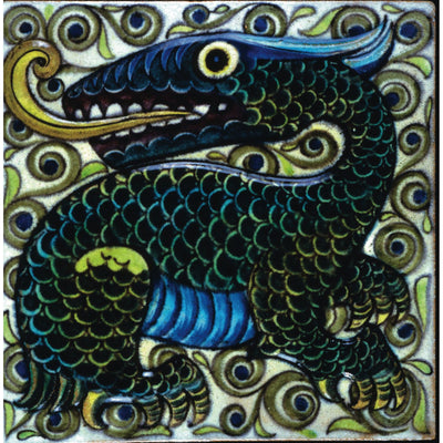 Square greeting card - dragon tile by William de Morgan. Dragon in rich blues, greens, and yellows with a backdrop of spiral motifs. From the collection of The FItzwilliam Museum, brought to you by CuratingCambridge.com