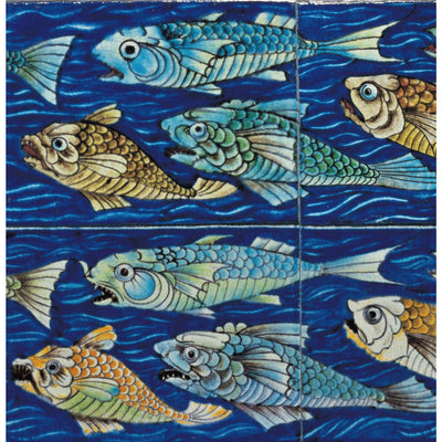 Square greeting card - a shoal of green, blue, and yellow-brown fish against a bright blue water design background. Ceramic tiles by William de Morgan. From the collection of The Fitzwilliam Museum, brought to you by CuratingCambrige.com
