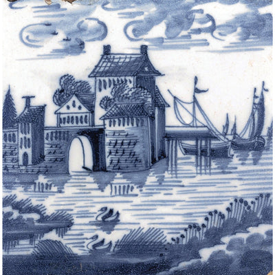 Square greeting card - blue and white tile with a river scene: houses, a bridge, and boats, with rushes and swans in the foreground. Dutch. From the collection of The Fitzwilliam Museum, brought to you by CuratingCambridge.com