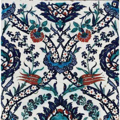 Square greeting card - ceramic tile with floral complex intertwining floral motifs in dark blue, green, red and turquoise. Iznik pottery in style. From the collection of The Fitzwilliam Museum, brought to you by CuratingCambridge.com