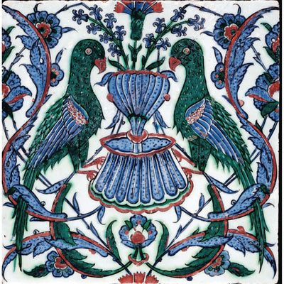 Square greeting card - tile with green parrots flanking a blue fountain. Floral motifs around in blue, green, and red highlights. From the collection of The Fitzwilliam Museum, brought to you by CuratingCambridge.com