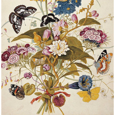Greeting card - A bunch of white, pink, and blue ornamental flowers with butterflies against an off white background by T.C. Robins. From the Broughton collection of The Fitzwilliam Museum, brought to you by CuratingCambridge.com